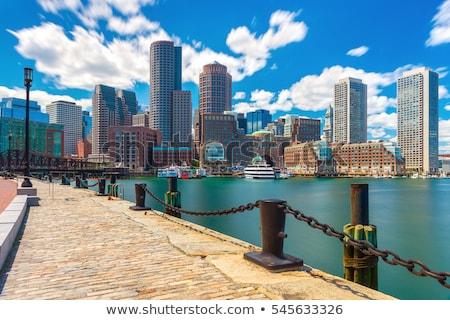 Boston USA vízfesték művészet nyomtatott sziluett Stock fotó © chris2766