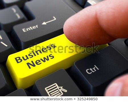 üzlet hírek írott citromsárga billentyűzet kulcs Stock fotó © tashatuvango