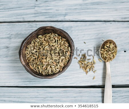 organic fennel seed in ceramic bowl stock photo © ziprashantzi