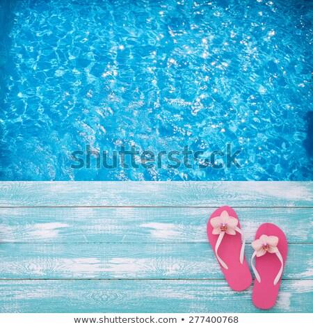 praia · natação · superfície · da · água · piscina · rosa - foto stock © Paha_L