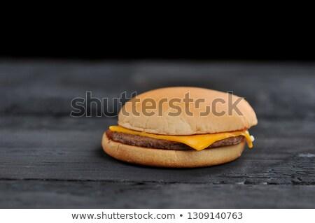 Hamburguesa con queso bollo cena trigo desayuno blanco Foto stock © shutswis