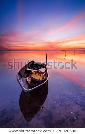 Loisirs bateaux sunrise lac pier romantique Photo stock © Steffus