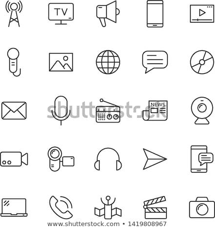 świecie głośnik line ikona internetowych komórkowych Zdjęcia stock © RAStudio