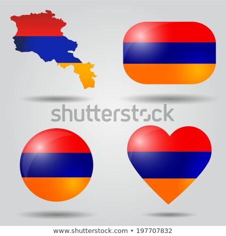 Stockfoto: Vlag · ovaal · knop · zilver · Armenië · geïsoleerd