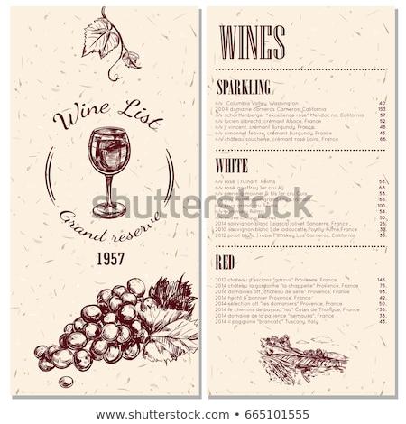 Vinho videira menu uvas projeto folha Foto stock © fenton