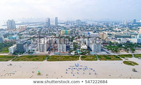 Miami downtown foggy skyline Miami Beach Stock photo © lunamarina