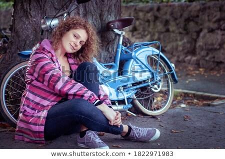 Pensive Woman on Vintage Bicycle  Stock photo © dariazu