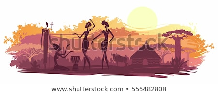 Stock photo: African woman silhouette at sunset