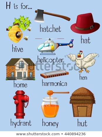 Flashcard letter H is for hatchet Stock photo © bluering