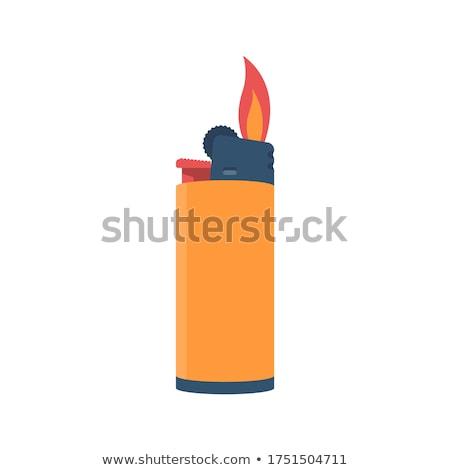 Isqueiro vermelho cigarro isolado branco fumar Foto stock © red2000_tk