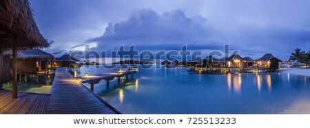 Foto d'archivio: Seascape And Water Villas In Maldives Sunset