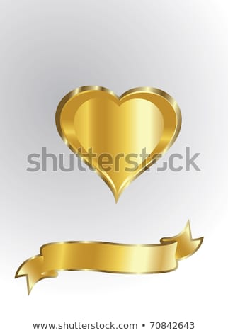 Stock photo: Golden heart with golden wings