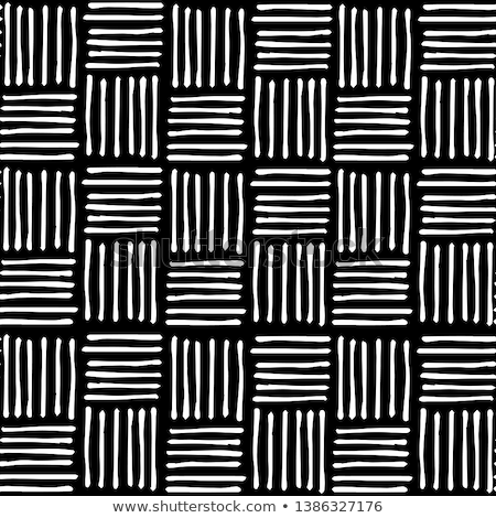 Stok fotoğraf: Vector Seamless Black And White Hand Drawn Diagonal Lines Grid Pattern