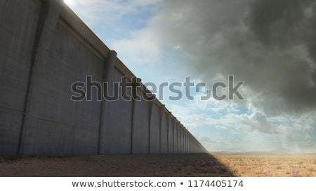 Americano fronteira parede segurança barricar bandeira Foto stock © Lightsource