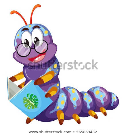 Purple caterpillar reading book Stock photo © bluering