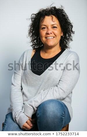felice · giovani · casuale · donna · jeans · vestiti - foto d'archivio © feedough