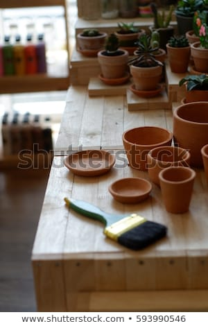 romantic idyllic plant table in the garden with old retro flower pot pots garden tools and plants stock photo © klinker