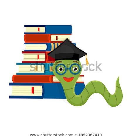 Green caterpillar wearing graduation cap Stock photo © bluering