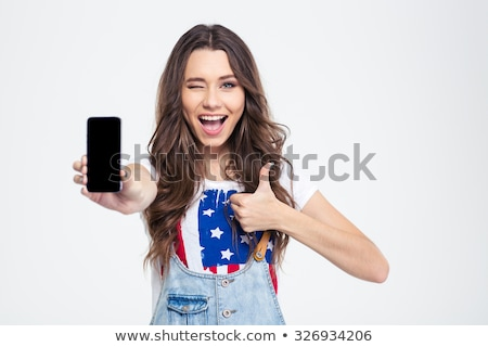 feliz · jovem · senhora · exibir · telefone · móvel - foto stock © deandrobot