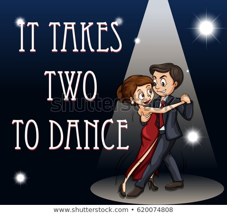 Idiom poster for it takes two to dance Stock photo © bluering