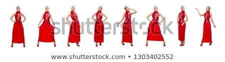 Blond haren model jurk granaatappel geïsoleerd Stockfoto © Elnur
