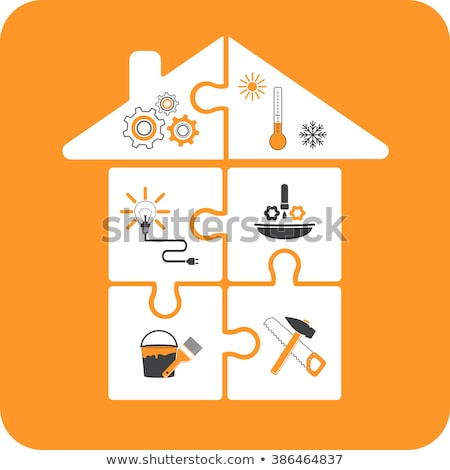 home repairing construction industry paint plumbing and roof stock photo © user_11138126