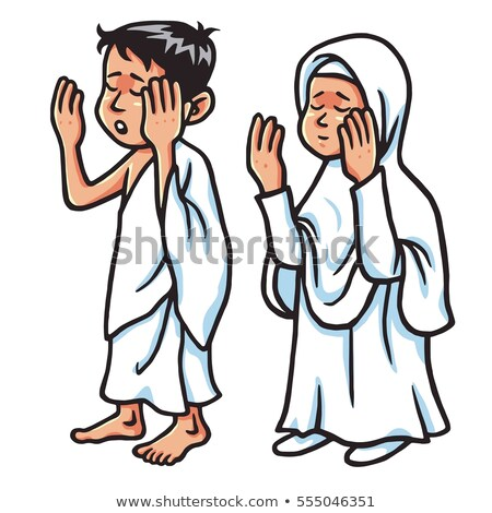 boy and girl hajj praying vector illustration stock photo © doddis