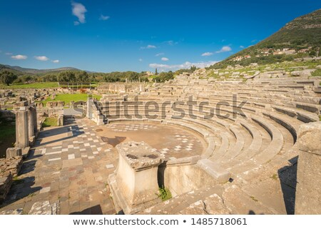 Ruins of theater in ancient city of Messinia, Peloponnese, Greece stock photo © ankarb