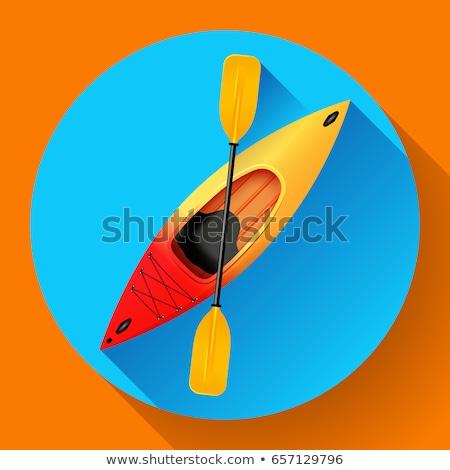байдарках икона вектора Открытый деятельность желтый Сток-фото © MarySan