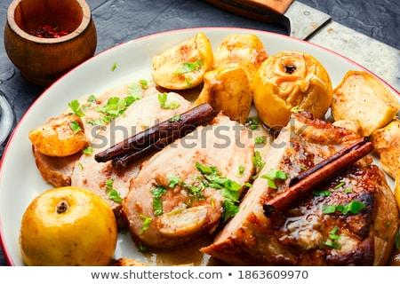 肉 リンゴ スティック 食品 プレート ストックフォト © Digifoodstock