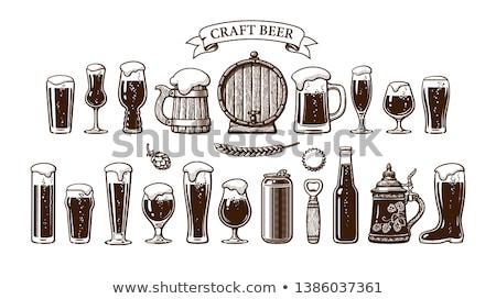 Bier bril ingesteld glas fles vector Stockfoto © Andrei_