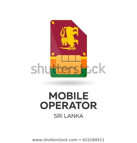sri lanka mobile operator sim card with flag vector illustration stock photo © leo_edition