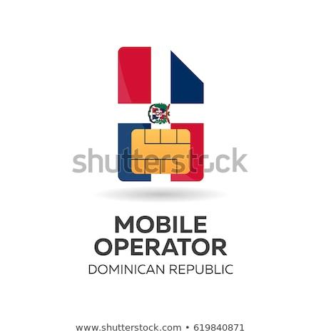 Dominican republic mobile operator. SIM card with flag. Vector illustration. Stock photo © Leo_Edition