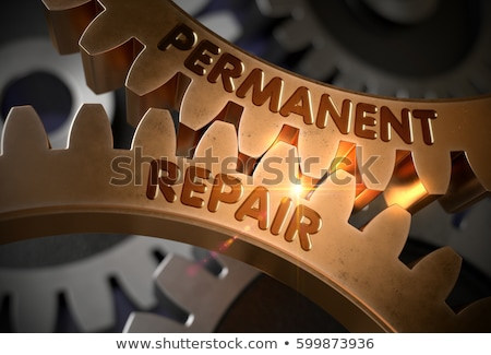 Permanent Repair Concept. Golden Gears. 3D Illustration. Stock photo © tashatuvango
