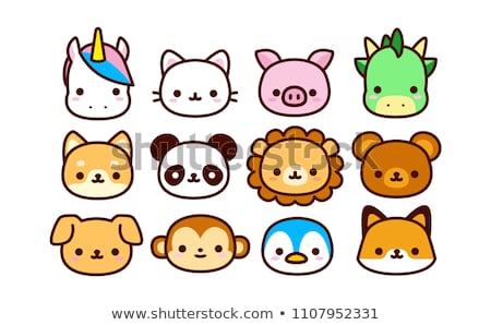 Sticker design for cute animals Stock photo © bluering