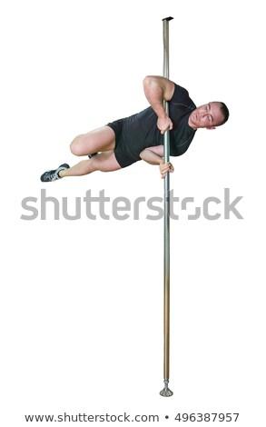 Stock fotó: Fiatal · erős · rúdtánc · férfi · izolált · fehér
