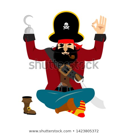 Pirate yoga. filibuster yogi. buccaneer relaxation and cognition Stock photo © popaukropa