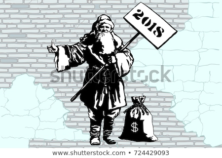 2018 new year santa claus hitchhiker with a bag of money stock photo © studiostoks