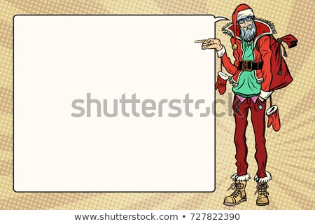 Hipster Santa Claus specifies sideways, the comic book bubble Stock photo © studiostoks