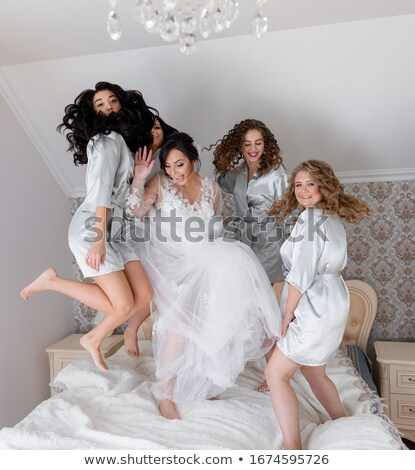 Tendre fille sautant voile belle isolé Photo stock © LightFieldStudios