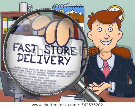 бизнесмен · бесплатная · доставка · бизнеса · стороны · карандашом · синий - Сток-фото © tashatuvango