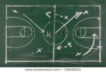 Zöld tábla kézzel rajzolt stratégiai tervez firka Stock fotó © tashatuvango