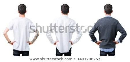 Adam ayakta geriye doğru mavi eller model Stok fotoğraf © Traimak