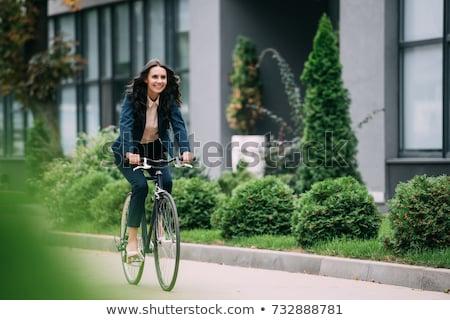 esportes · bicicleta · mulher · prado · belo · paisagem - foto stock © pilgrimego
