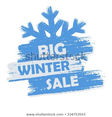 Big Winter Sale In Blue Drawn Banner With Snowflake Stockfoto © marinini