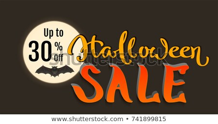 Discount 30 percent of Halloween holiday sale. Bat on full moon and lettering text Stock photo © orensila