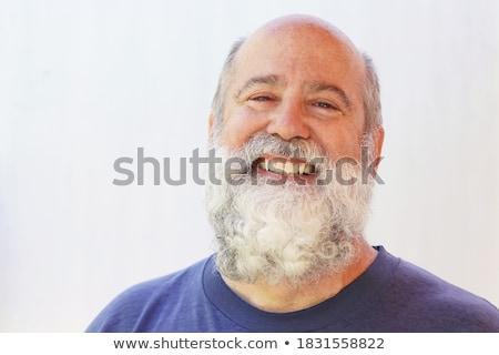 Biały broda wąsy Święty mikołaj odizolowany twarz Zdjęcia stock © orensila