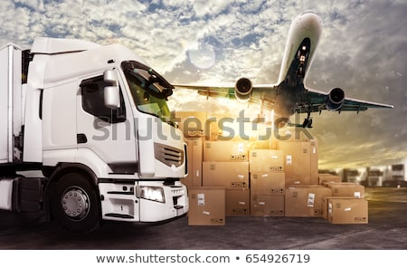 truck aircraft and cargo ship ready to start to deliver stock photo © alphaspirit