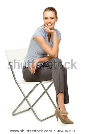 çekici · model · makyaj · poz · sandalye · güzel - stok fotoğraf © arturkurjan