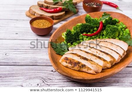 Kip strips toast geroosterd brood groene Stockfoto © Digifoodstock